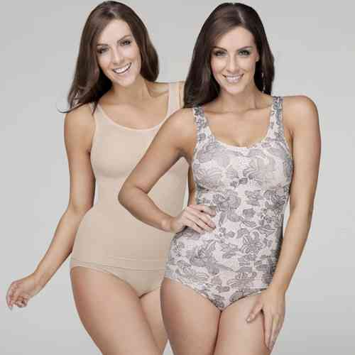 Your Secret Control Shapewear - Long Tank - 2 Pack - Rose Print & Nude